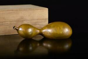 L584: Japanese Copper Gourd-shaped ORNAMENTS object art work, auto w/signed box