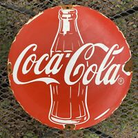 VINTAGE COCA COLA PORCELAIN SIGN SODA POP ADVERTISING OIL GAS STATION PETROLIANA