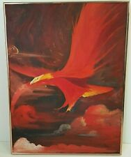 Large Framed Phoenix in Flight Fantasy Oil Painting by Raoul Bold Red Stormy Sky