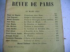 LA REVUE DE PARIS n° 6 - 1934 revue littéraire GIONO CHEVALIRE REYNAUD etc