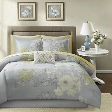 Madison Park Essentials Microfiber Printed 9pcs Comforter Set Cal King Grey NEW