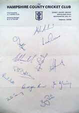 HAMPSHIRE 1987 COUNTY CHAMPIONSHIP – CRICKET OFFICIAL AUTOGRAPH TEAM SHEET