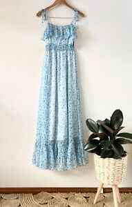 PADDO TO PALMY turquoise floral frill maxi dress sz 1 | BNWT