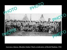 OLD POSTCARD SIZE PHOTO OF LAWRENCE KANSAS THE BLACKFEET INDIAN CHIEFS c1926