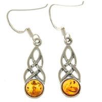 Celtic Knot Stone Sterling Silver Earrings, set w Baltic Amber, e298