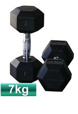 PAIR OF 7KG RUBBER COATED HEX DUMBBELL CHROME HANDLE WEIGHTS PLATE BODYBUILDING