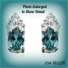 TCW 0.44 Extremely Petite Monte Belo Indicolite BlueTourmaline w/Zircon Earrings