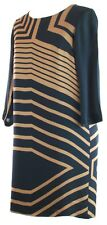 Stella McCartney Shift Dress Black and Tan Brown Silk UK 6 IT 36 Womens RRP £690