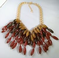 Earth Tones Statement Necklace 2 Strand Layered Cone Bead Rust Red Brown Cluster