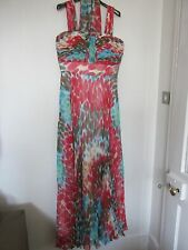 NEW DESIGNER,EVASSE, RUCHED, LINED, LONG DRESS WITH SCARF, PINK/BLUES.SIZE 14