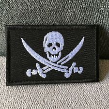 Embroidered Jolly Roger Pirate Skull Swords US Army Military Hook Loop Patch