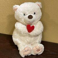 Hallmark I Love You Bear Plush Valentine Voice Activated Talking White Heart Red