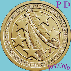 2021 P&D NATIVE AMERICAN TWO DOLLARS SET DISTINGUISHED MILITARY SERVICE PRESALE