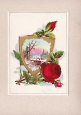 Victorian Scrap Trade Card Shield Frame Red Roses Winter Trees Stream Scene NOS