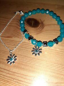 Avon Aquamarine Birthstone Bejewelled Stretch Bracelet + Chain Bracelet BNIB