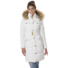 Rocawear Womens Long Hooded Belted Coat White S #NJG1X-543