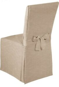 100% Cotton Parson Dining Chair Cover, Chambray Chair Slipcover, Tan Beige