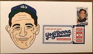 2021 Yogi Berra FDC First Day Cover Hand Drawn Cachet 1/1 New York Yankees