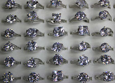 Bulk Mixed Design Lots 30pcs Big Cubic Zirconia Charm Women Silver p Rings