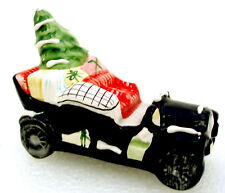 Dept. 56 Ceramic Car Black w. Tree & Gifts Retired 1989 Snow Village Rare 50690