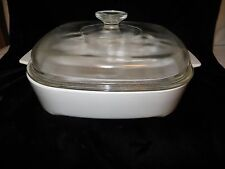 """Corning Ware White MW-A-10 Microwave Browning Dish & Lid - 10"""""""