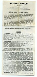 Vintage 1961 Monopoly Board Game Instructions Rules Sheet Booklet Parker Brother