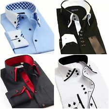 Mens Italian Shirts Casual Double Collar Slim Fit Button Down Long Sleeve Shirt