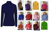 Ladies Warm Knitted Skinny Rib Roll Turtle Polo Neck Jumper Top UK Size 8-26