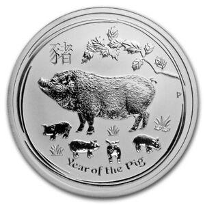 2019 - 1/2 OZ. .9999 SILVER - LUNAR  YEAR of the PIG - PERTH  MINT - GEM - $9.99