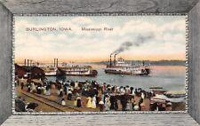 Burlington Iowa~Mississippi River Boats~Steamers~RR Tracks~Frame Border~PCK 1908