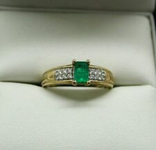 Lovely 9 Carat Gold Emerald And Diamond Dress Ring Size N.1/2