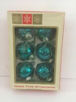 Vintage BlueGreen Glass Christmas Tree Ornaments Made in West Germany in Box CRZ