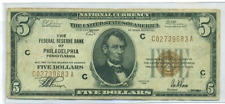 1929 $5 FEDERAL RESERVE NATIONAL CURRENCY PHILADELPHIA DISTRICT