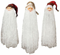 "24"" Long Beard Santa Head Christmas Tree Hanging Ornament White Hat Decor Set"