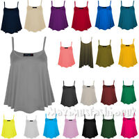 WOMENS NEW PLAIN SWING CAMI VEST SLEEVELESS TOP STRAPPY LADIES PLUS SIZE FLARED