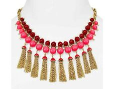 Kate Spade That's A Wrap Pink Tassel Necklace NWT Stylish Gold Chain Tassel Chic
