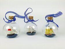 Buddelschiff-Kugel 3er Set Weihnachtsschmuck Glaskugel Segelschiff Dekoration