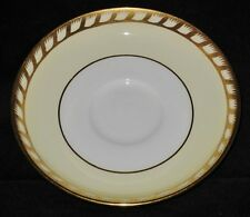 Minton, S112, White & Cream, Gold Twisted Band & Verge, Demitasse Saucer