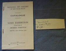 1930  Australian Artist Arthur Streeton Hand Signed Signature & 1931 Exhibition