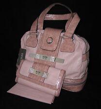 GUESS Trisha Doctor Bag Dome Purse Satchel Wallet Checkbook Set Black Pink Brown