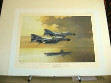 Jolly Rogers F-4 Phantom Aircraft Carrier Marion Carl Aces Signed Aviation Art
