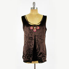 $325 Tory Burch Peacock Embroidered Beaded Silk Sleeveless Tank Top Blouse 10 M