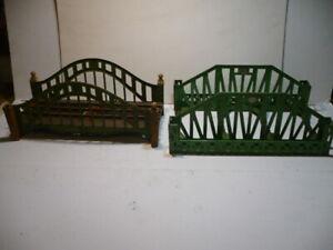 (2) LIONEL STANDARD GAUGE BRIDGES #280 PEA GREEN #101 GREEN CREAM BRIDGE