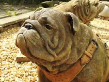 Sitting British Bulldog Lifesized Lifelike Stone Cast Ornament Garden Statue