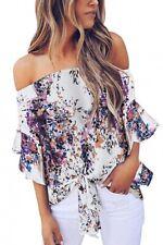 Off Shoulder Chiffon Floral Print Blouse Shirt 2XL 18/20 Plus Size Tie Front NEW