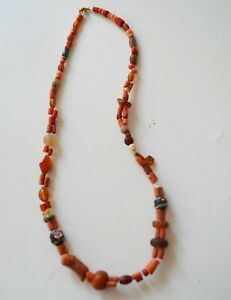 Fine Old North African Tribal coral glass and stone beaded necklace