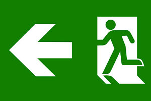 Emergency exit banner sign running man custom with your logo green whte print
