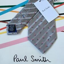 PAUL SMITH Grey Floral Stripe Silk 9cm Blade Tie ~ NEW ~ Made in Italy WEDDING