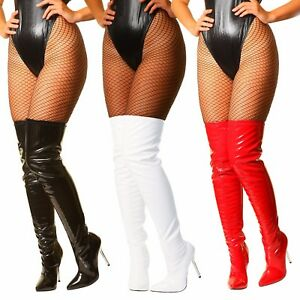 Womans Sexy Patent Stretch Fetish Over The Knee Thigh High Heel Stiletto Boots