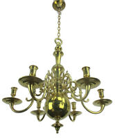French Antique 19th Century Chandelier Candle Lights Heavy Brass Bronze 6 arm